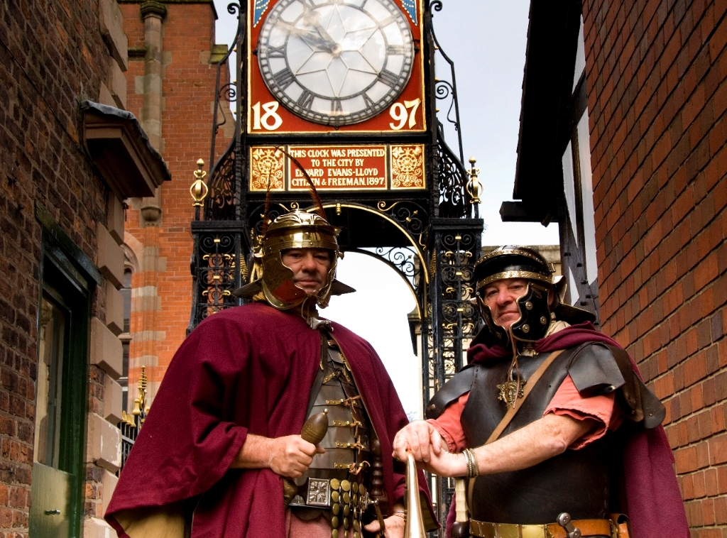 2 Roman Soldiers in Front of The Eastgate Clock, Chester