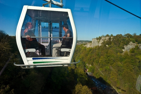 Heights of Abraham, country park and famous show caverns set in 60 acres of woodland and reached by cable car over deep limestone gorge in the Peak District
