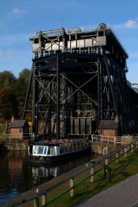 The Anderton Boat Lift is an incredible edifice, perched on the banks of the River Weaver Navigation like a giant three-storey-high iron spider